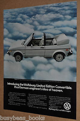 1983 Volkswagen Convertible advertisement, VW Wolfsburg Limited Edition top down