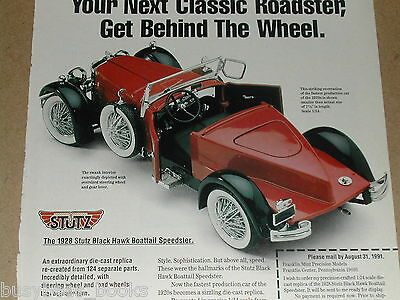 1991 Franklin Mint advertisement for the 1928 Stutz Black Hawk model