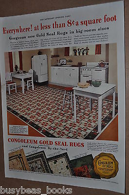1937 Congoleum advertising page, Retro Kitchen, colorful floor coverings