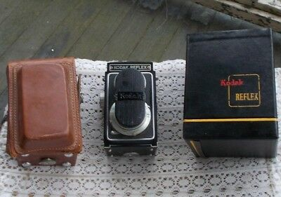 Vintage Kodak Reflex Box Camera Collectible & Original Field Case Box Lens Cover