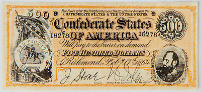 1864 Confederate States of America $500 Bank Note Novelty Money