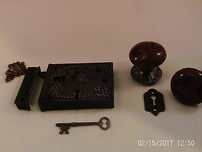 Antique Rim Lock Door Knob Set box lock Civil War Era  BLW 1863 #713