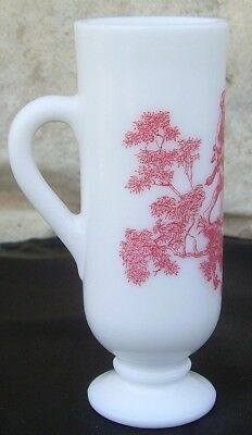Demitasse Cup Mug White Milk Glass Pink Country Scene Vintage Avon