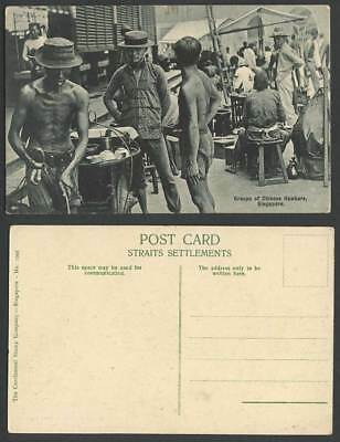 Singapore, Group of Chinese Hawkers, Roadside Food Sellers Vendors Old Postcard