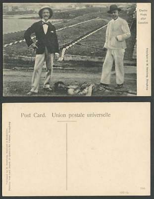 China Old Postcard CHEFOO CHEEFOO Chinese PIRATE after EXECUTION Men Ethnic Life