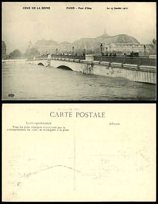 PARIS FLOOD 27 Janvier 1910 Old Postcard Pont d'Lena Lena Bridge & Flooded River