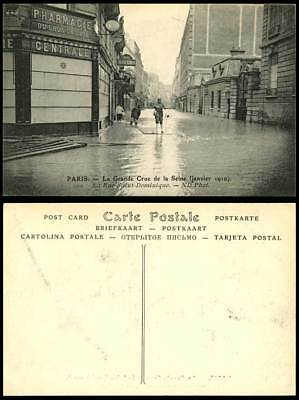 PARIS FLOOD 1910 Old Postcard La Rue Saint-Dominique Street & Pharmacie Pharmacy
