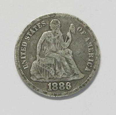 1886 U.S. Dime * Liberty Seated * 90% Silver * Better Grade * Nice For Book