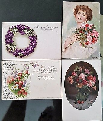 Lot of 4 Germany Antique Old Colour Flowers Verse Greeting WWI Era Postcards