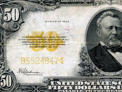 HGR 1922 $50 RARE ((Gold Certificate)) AWESOME GRADE