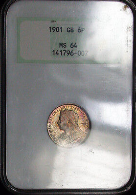 1901 Great Britain NGC MS64 Colorful Toned 6P