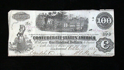 April 17, 1862 Confederate States of America Steam Train $100 Note