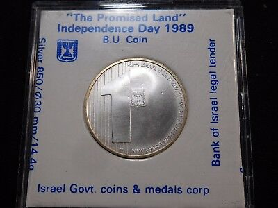 INV #Th74 Israel 1989 Silver Independence Day Sheqalim BU