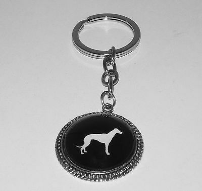 Chrome Keyring with Black + White Greyhound Silhouette Cabochon, Pewter Setting