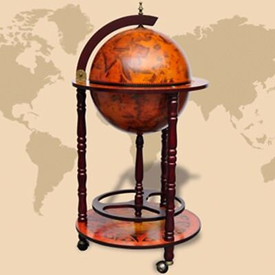 S#Antique Globe Bar Cabinet Drinks Trolley Wine Storage Alcohol Serving Cart Woo