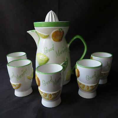 Napco Ware Juice Pitcher Reamer 5 Glasses C 5352 Japan Citrus Fruit Mid Century