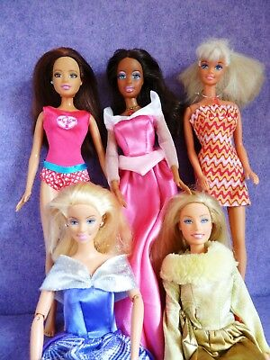lot of 5 Barbie fashion dolls, Mattel, outfits are not original