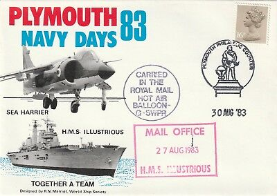 H.M.S. Illustrious, Sea Harrier, Plymouth Navy Days 1983 Cover.