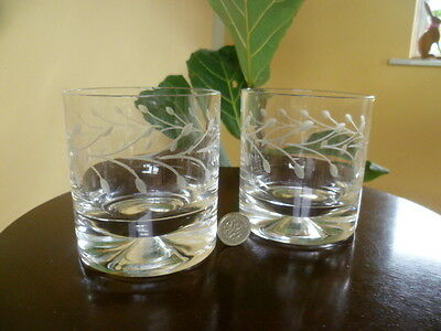 "2 HUGE Vintage Dartington Cut Glass Dimple Double Old Tumblers 3 3/4"" 1/2 Pint"