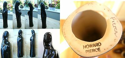 Rare SIGNED Howard Pierce California Studio Pottery Madonna & Child Gloss Black