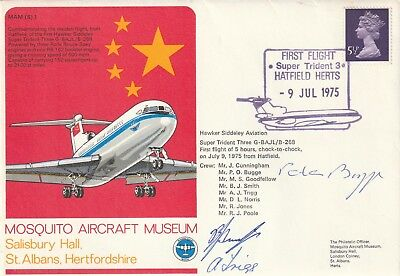 Super Trident 3, First Flight, Hatfield Herts, 9th July, 1975, Signed Cover.
