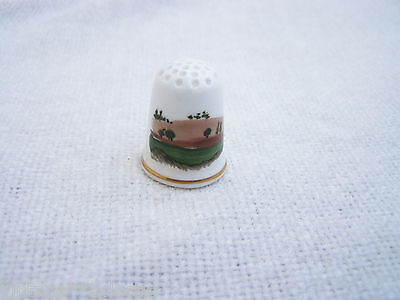 Fine Bone China Paddingham Handpainted Thimble ~ Signed Mb ~ Countryside Scene