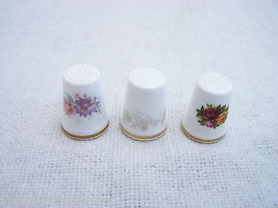 ROYAL ALBERT BONE CHINA THIMBLE THIMBLES (3) inc OLD COUNTRY ROSES ~ EXCELLENT
