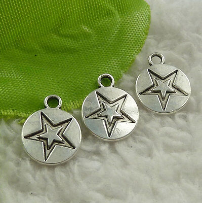 Free Ship 616 pieces tibet silver star charms 14x11mm #4524