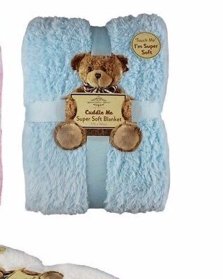 ONE Baby cot blanket fluffy sherpa textured fleece BLUE 150 x 100 cm BNWT