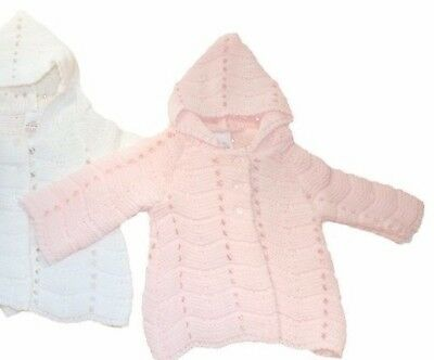 ONE x Traditional long line matinee coat cardigan PINK 0-3 months