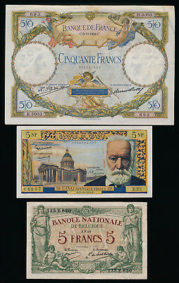 ## Eye Candy ##  2 France Notes + 1 Belgium (1914-1959) Must See > No Reserve