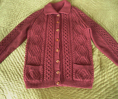 Vintage Cable Knit Cardigan Aran Wool Hand Knitted  - Medium - 10 - 12
