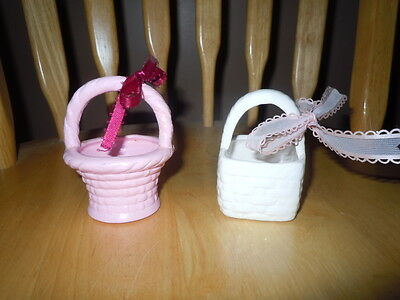 Vintage Small Ceramic Easter Baskets Set Of 2 Guc One Pink One White