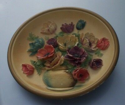 "Very Rare Vintage Fifties Anemones In Vase 14"" Round Limited Production Plaque"