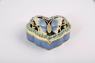 Butterfly Trinket Box by Keren Kopal Faberge Egg Austrian Crystal