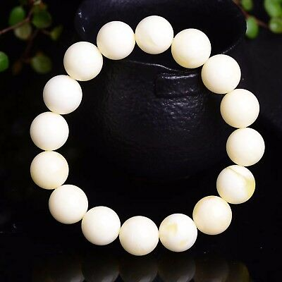 12mm Genuine White round beads baltic amber Bracelet