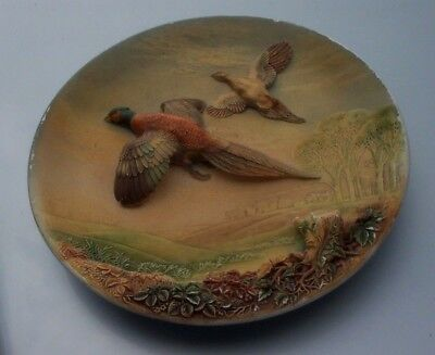 "Vintage Rare Fifties 14"" Pheasants Hand Painted Plaster Circular Plaque."