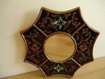 Vintage Alejandro Peruvian Reverse Painted Glass Small Wall Mirror