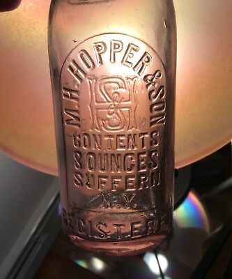Heavily Embossed Antique Suffern NY Beer Soda Bottle MH Hopper & Son Light Blue
