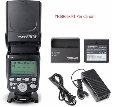 YONGNUO YN686EX-RT Con 2 Batterie Li-ion Wireless 2.4G E-TTL HSS Flash per Canon