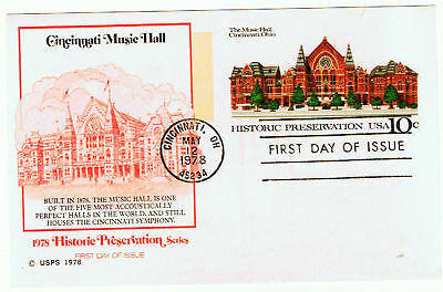United States #UX73 1978 10 cent Cincinnati Music Hall CFDC Unused