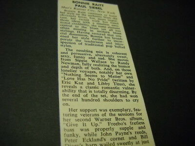 BONNIE RAITT Paul Siebel at Max's KC in New York 1972 music biz concert review