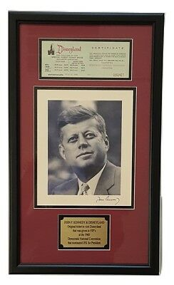 1960 John F Kennedy Democratic Convention Disneyland Ticket Display