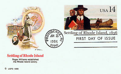 United States #UX112 1986 14 cent Settling Rhode Island CFDC Unused