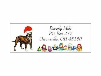 Christmas address labels Pit Bull Christmas  WATERPROOF snowpeople design