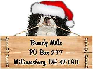 Japanese Chin Christmas return address labels die cut to shape of dog and sign