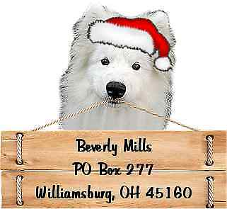 Samoyed  Christmas return address labels die cut to shape of dog and sign