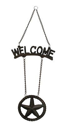 Welcome Hanging Star Sign Plaque  Western Decor Rustic Brown