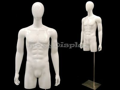 Egg Head Male Mannequin Torso with nice body figure and arms #TMWEGS-MD