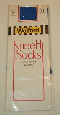 Wolford Vintage 20 D Knee High Sock Tights Pantyhose Stay Up Azur Bright Blue
